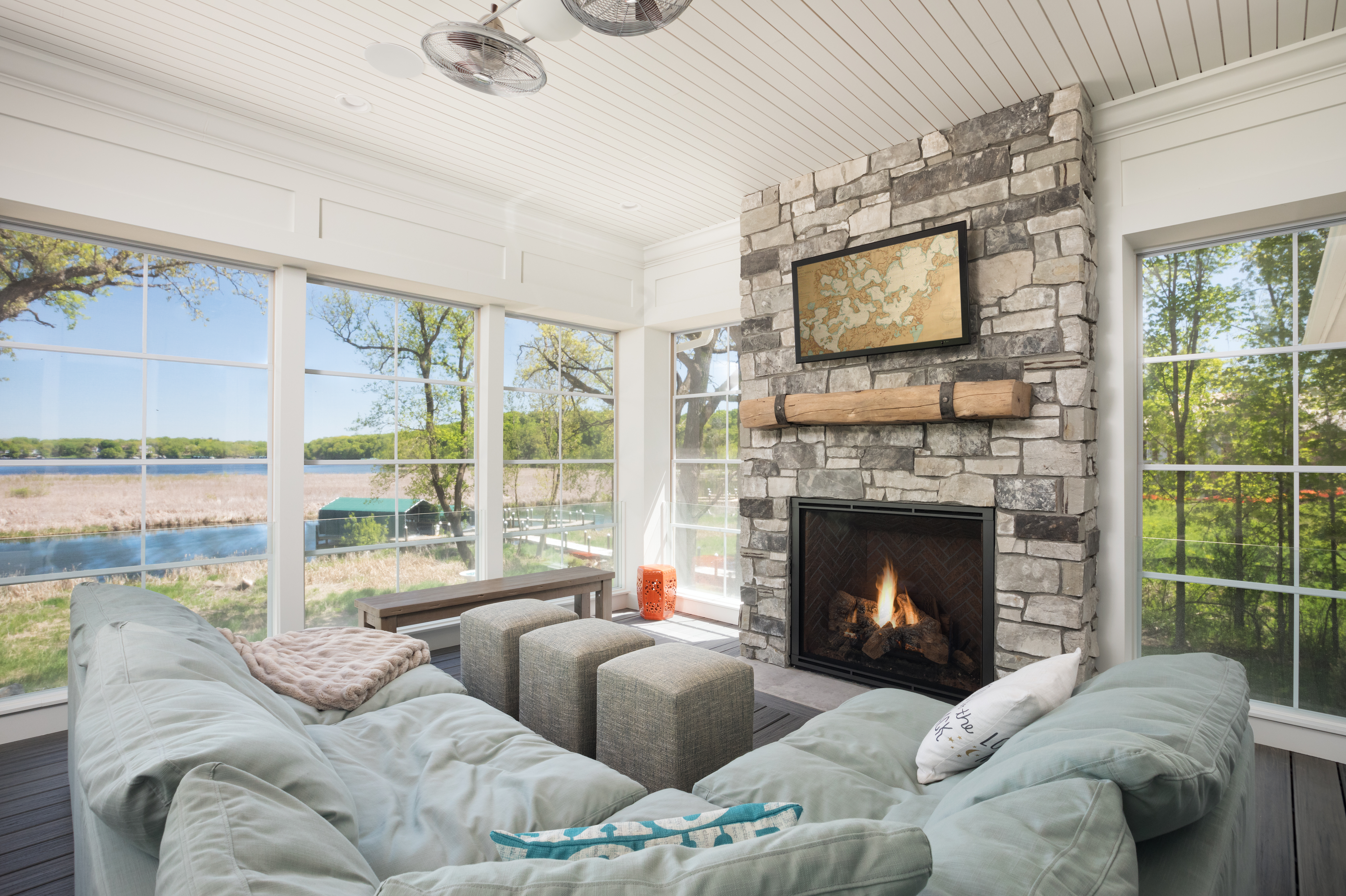 Porch with Lake Minnetonka visible through window