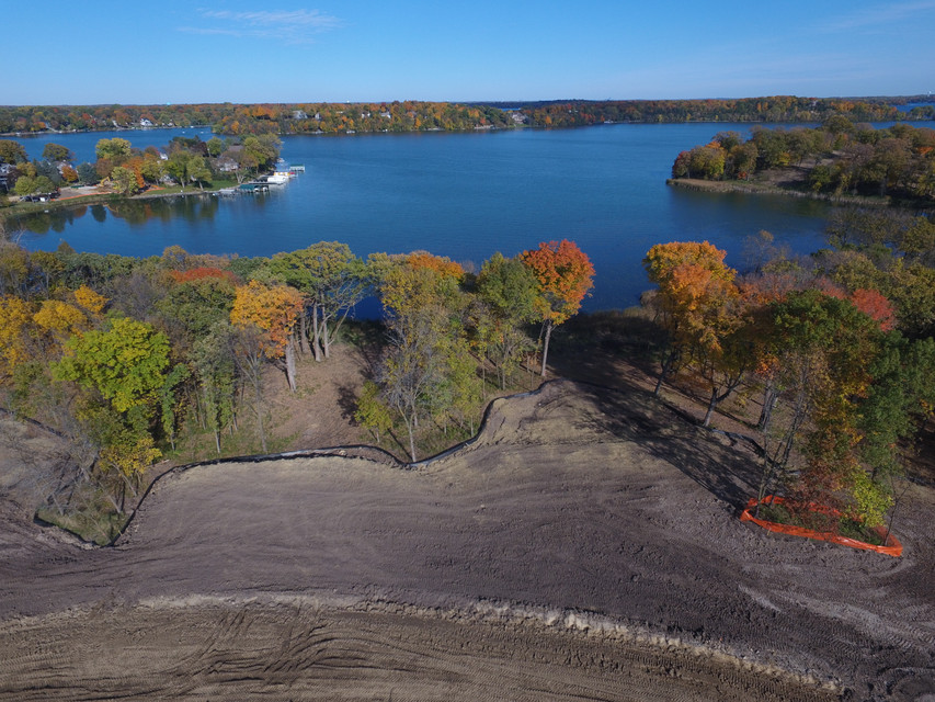 Aerial photo of lot and Lake Minnetonka