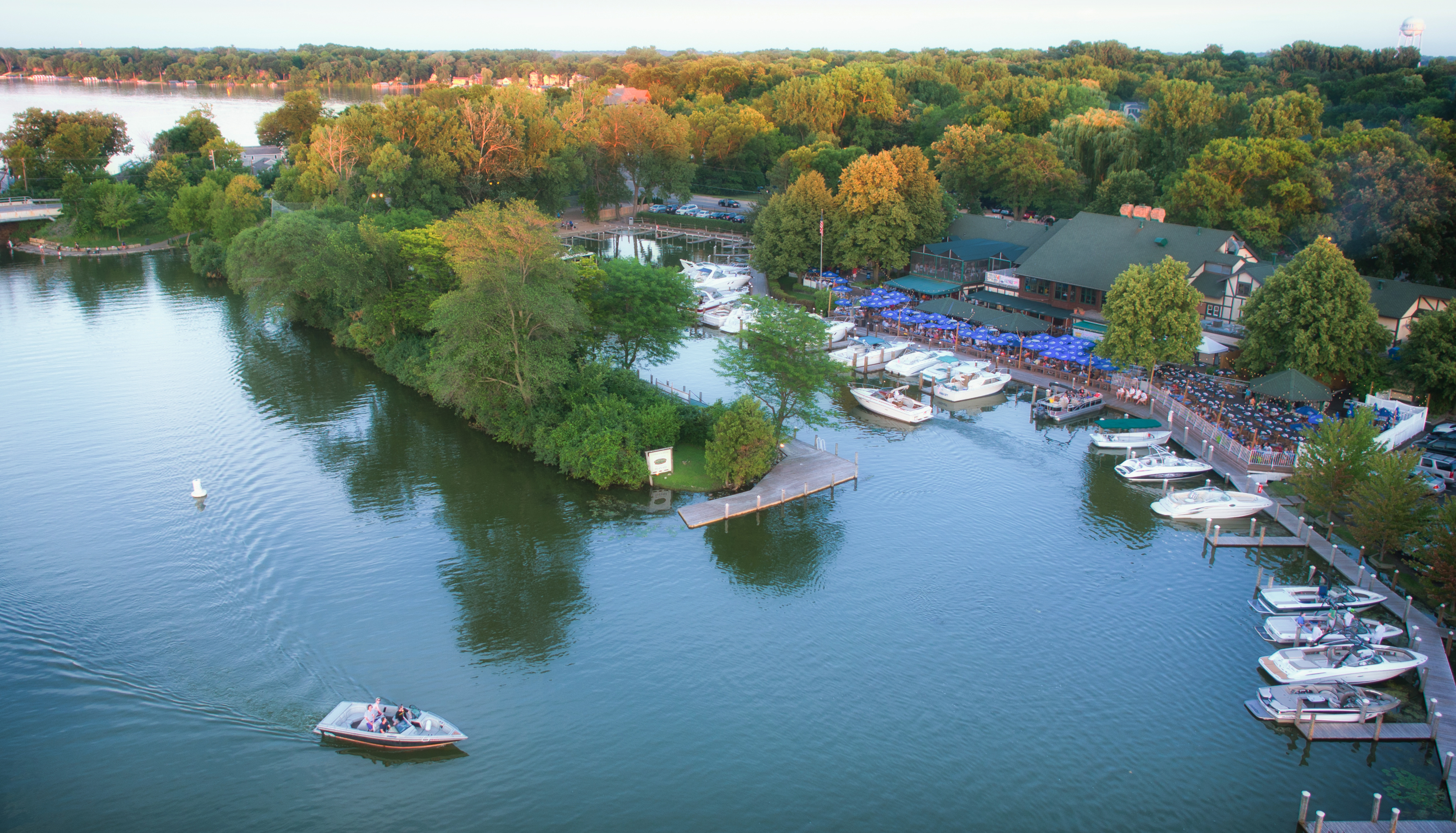 Aerial of boats at restaurant on Lake Minnetonka