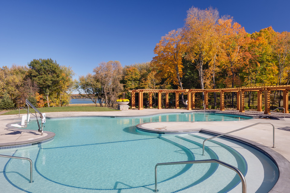 Pool area with Lake Minnetonka in background